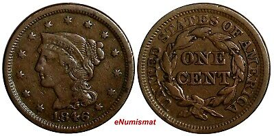 US Copper 1846 Braided Hair Large Cent 1C Small Date EX.LUX FAMILY COLLECT (037)