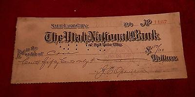 1908 Salt Lake City Utah National Bank  Check No  1167