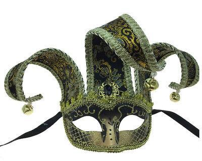 Jester Mask & Hat Venetian Mask Gold Halloween Mardi Gras Costume Party