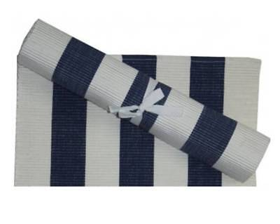 Table Runner Striped Navy Chambray and White 100% Ribbed Cotton 34 x 180 cm - Navy And White Striped Table Runner