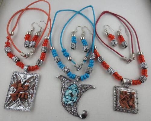 LOT OF 3 Silvertone Bead Tribal Design Pendant Necklaces Dangling Earrings L62