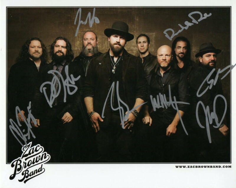 ZAC BROWN FULL BAND (X8) SIGNED AUTOGRAPH 8x10 PHOTO - CHICKEN FRIED, FOUNDATION