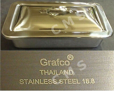 Grafco Stainless Steel Instrument Tray W Lid 8-78x5x2 Medical Dental Tattoo