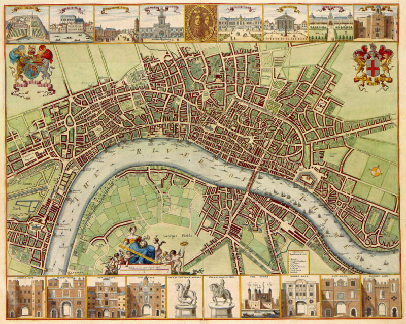 large 17th century old WORLD style map of London England fine art poster print