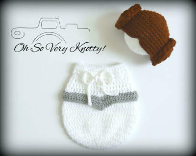 eia inspired Handmade Crochet Baby Photo Prop Swaddle Sack (Leia Baby-kostüm)