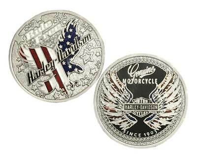 Harley-Davidson Ride Free Eagle Flag Challenge Coin, 1.75 in. Silver 8009021