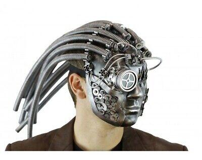 Deluxe Silver Steampunk Alien Robot Adult Fancy Mask Predator Compass Goggle - Metal Predator Mask