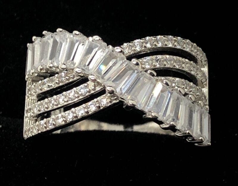 IBB signed Sterling Silver Ring 925 Size 9.5 China CZ Band China