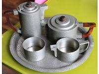 Vintage 1920s/30s art deco/art nouveau heavy Malayan hammered Pewter tea/coffee/tray set vgc
