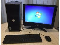 Complete Windows 7 Dell Pentium PC Tower with Flatscreen Monitor Keyboard & Mouse