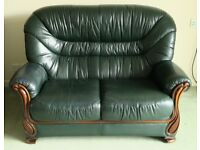 2 seat green leather settee / sofa plus matching armchair