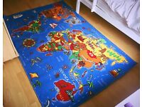 Educational FUN Colourful World Map Countries & Oceans Kid Rugs