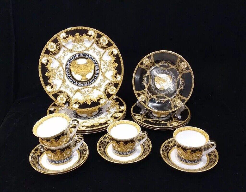 16 Pcs Black & Gold Greek Key  Versailles Dinner Set, Servic