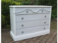 Georgian style Large Chest of Drawers - Shabby Chic - White and Grey - Can Deliver