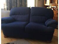 Two 2 seater M&S dark blue sofas