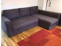 IKEA Blue Corner Sofa Bed with storage. Good. condition left/right Chaise Lounge. space saving.