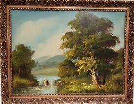 Beautiful Country Scene Picture in Gilded Frame