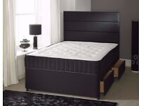 Double Divan Bed With White Memory Foam double Mattress in black brown white mattress