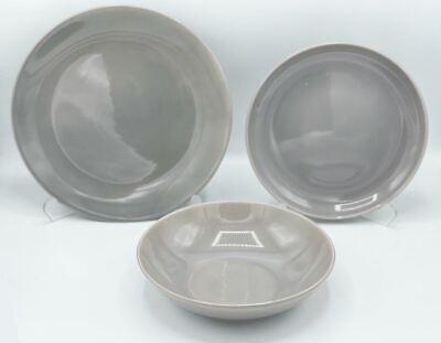 Servizio di Piatti da Tavola in Ceramica Lido Grigio 18 pezzi