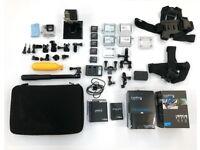 GoPro HERO 4 BLACK << FULL SET >> + Brand NEW LCD TOUCH BacPac + 5 batteries + BRAND NEW housings