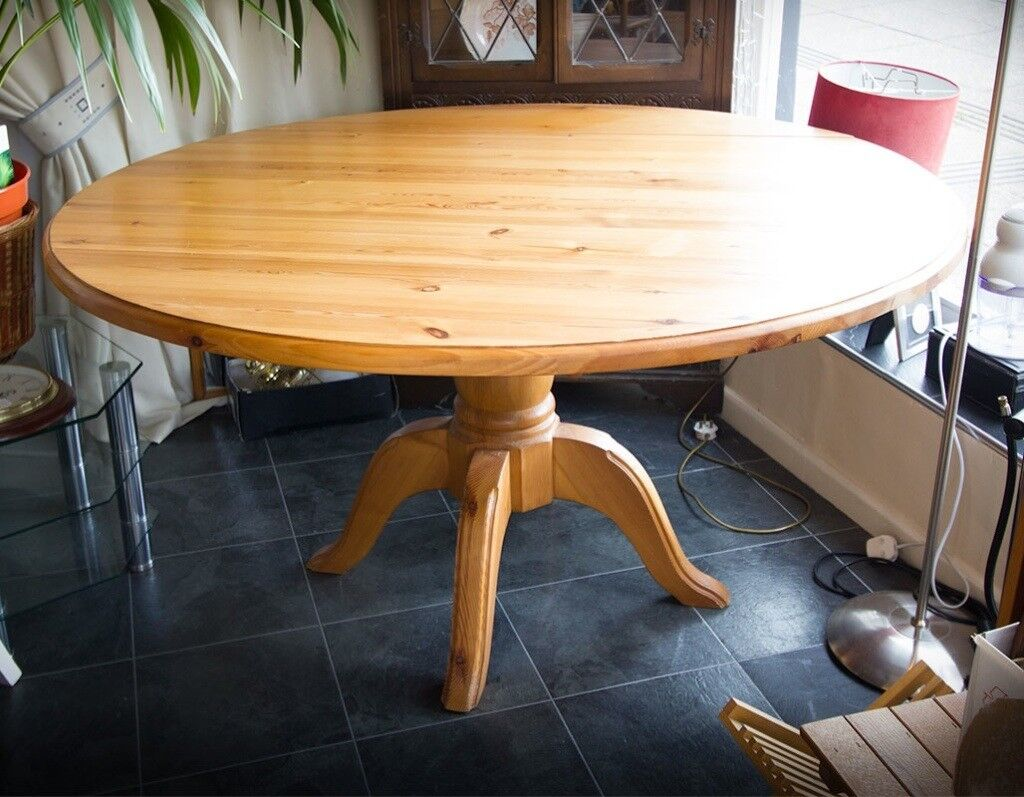 Solid Pine Round Extending Drop Leaf Dining Table In