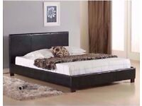 BRAND NEW KING SIZE LEATHER BED WITH MEMORY ORTHOPEDIC MATTRESS JUST £219