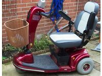 RED SHOPRIDER MOBILITY SCOOTER & RAMP . EXCELLENT CONDITION,