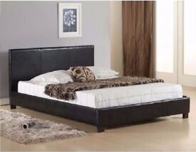 "SAME DAY FAST DELIVERY-- DOUBLE LEATHER BED FRAME WITH 9"" DEEP QUILTED MATTRESS -SAME DAY"
