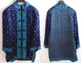 Elegant 100% SILK Tunic in rich purples and blues