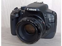 Canon 550D Camera DSLR with lens 50mm . good condition
