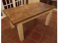 Rustic Solid Wood Plank Kitchen Dining Table - with painted legs