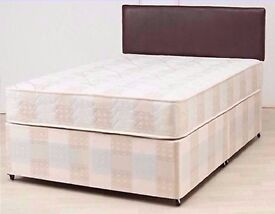 BRAND NEW- KING divan bed base WITH SEMI ORTHOPAEDIC MATTRESS AVAILABLE IN SINGLE BED DOUBLE BED