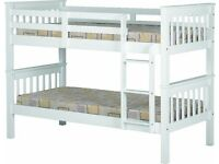 NEW strong white wooden bunk beds can be split into 2 singles