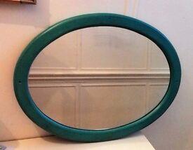 Vintage Oval Oak Mirror Turquoise