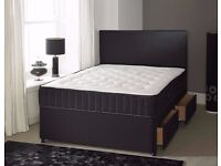 SMALL DOUBLE DIVAN BED WITH 1000 POCKET SPRUNG MATTRESS IN WHITE & BLACK