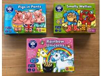 Three Orchard Toys Games Brand New; Rainbow Unicorns Pigs in Pants Smelly Wellies