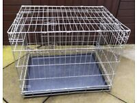 SILVER MEDIUM SIZE STURDY DOG CAGE FOR SALE L. 30 W. 20 H. 22 inches