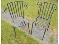 2 Sculptural Wrought Iron Garden Chairs - £55 the pair