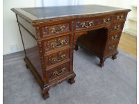 FAB QUALITY BEATIFULLU CARVED SOLID WOOD RARE ANTIQUE DESK SUPERB CONDITION