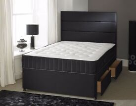 BRAND NEW BLACK DOUBLE DIVAN BED BASE WITH MEMORY FOAM MATTRESS