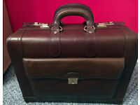 Solid leather briefcase with combination locks