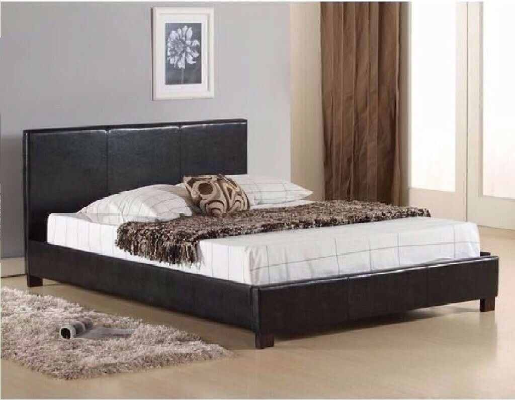 158553fd01f5 💦💛💦BLACK AND BROWN BEDS 💦💛💦BRAND NEW DOUBLE LEATHER BED 1000 POCKET  SPRUNG MATTRESS £209