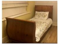 Solid Wooden French Oak Single Sleigh Bed