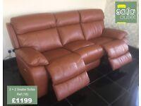 Designer Tan Brown Leather 3 + 2 seater sofas (18) £1199