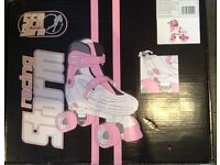 Girls' SFR Racing Storm pink and white roller blades (fits 12.5-2, adjustable) VGC - still boxed!