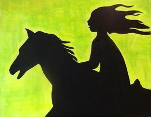"HORSE RIDER EQUESTRIAN GIRL- Original Painting Art - Large 35x27"" Silhouette Lime green black Oakville 905 510-8720"