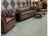 Stunning NEW Chesterfield Harlequin Suite 3 Seater Sofa & 2 Chairs Leather - UK Delivery