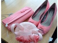 Beautiful Jacques Verts wedding bag, shoes and fascinator