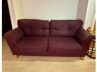 Next purple sofa, armchair x2 & footstool