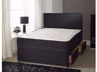 BRANDNEW King Size Divan Bed 25cm Firm Mattress Fast Delivery Headboard/Drawer Options Grey/Black